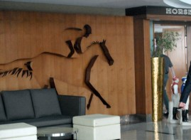 An inlaid wall design.