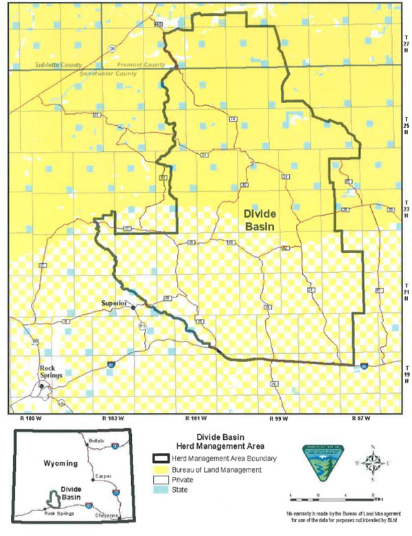 A map of the Great Divide herd management areas showing the extent of the Checkerboard lands. The yellow shows land under BLM control, the white shows privately owned land, and the pale blue is state land. Map: BLM