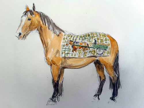 World Horse Welfare's iconic Clydesdale Adoption horse, Digger, is being embodied through a farming heritage themed design by Judith Stowell. The design will highlight the role of working horses in agriculture and will feature the tartan of Belwade Farm Rescue and Rehoming Centre.