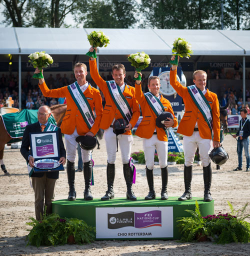 The host nation won the fifth leg of the Furusiyya FEI Nations Cup Jumping 2016 Europe Division 1 League at Rotterdam. Pictured (L-R): Chef d'Equipe Rob Ehrens with team members Jur Vrieling, Harrie Smolders, Maikel van der Vleuten and Willem Greve.