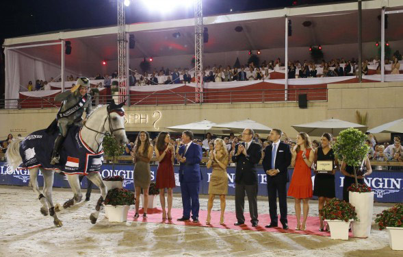 Emanuele Gaudiano and Caspar 232 on their victory lap for the LGCT Monaco grand prix at the weekend.