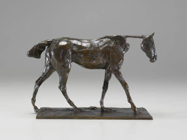 "Edgar Degas (French, 1834-1917). Thoroughbred Horse Walking, cast 1919-21. Bronze 5 3/8""H x 4 1/8""W x 8 3/8""D. Virginia Museum of Fine Arts, Richmond. Collection of Mr. and Mrs. Paul Mellon. Photo by Katherine Wetzel"