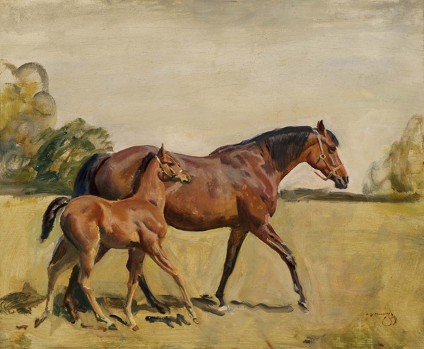 """Sir Alfred Munnings oil painting """"Lord Astor's Broodmare and Foal"""" fetched the top price of $207,000 at last year's Sporting Art Auction inKeeneland."""