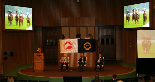 Ramon Dominguez, Gunnar Lindberg and Chris McCarron discuss regulating the use of the crop at the Welfare and Safety of the Racehorse Summit at Keeneland.