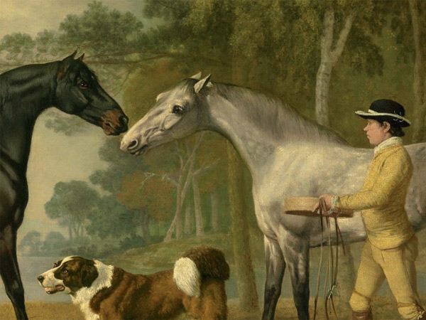 "Detail of the George Stubbs oil painting ""Two hunters with a young groom and a dog by a lake"" to be sold at Christies later this month."
