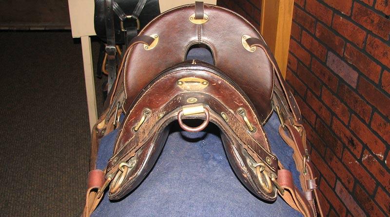 A McClellan saddle, pictured at Fort Kearny Nebraska State Park.