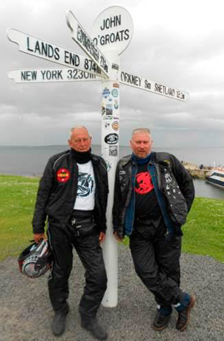 Alan and Philip Joseph at John O'Groats, Britain's northern-most point.