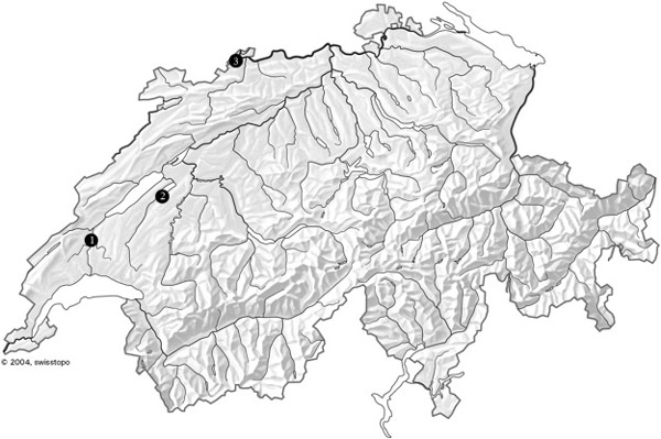 Location of investigated sites in Switzerland. 1 – Mormont, canton Vaud; 2 – Avenches/Aventicum, canton Vaud; 3 – Basel-Gasfabrik, canton Basel-City.