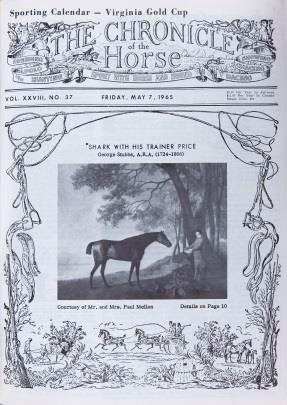 The May 7, 1965 issue of The Chronicle of the Horse, featuring the Stubbs portrait of Shark, above.