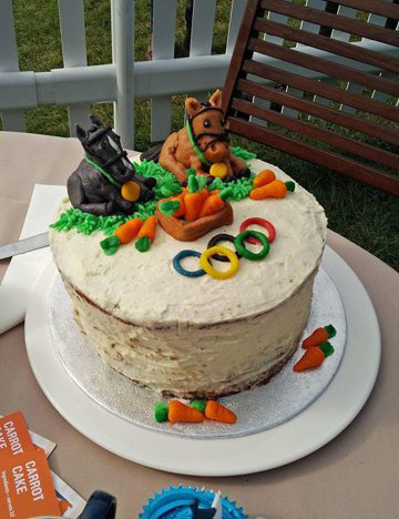 Michelle Knott's winning carrot cake from the Burghley Bake Off features British dressage horses Valegro and Nip Tuck.