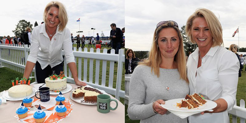 Ugne Bubnaityte testing the cakes at the Burghley Bake off, and pictured with winner Michelle Knott. © Land Rover Burghley Horse Trials