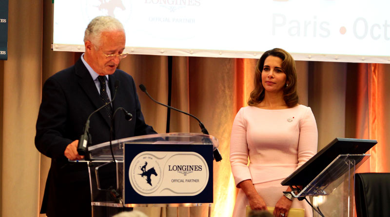 Honorary FEI President Princess Haya is introduced by Louis Romanet.