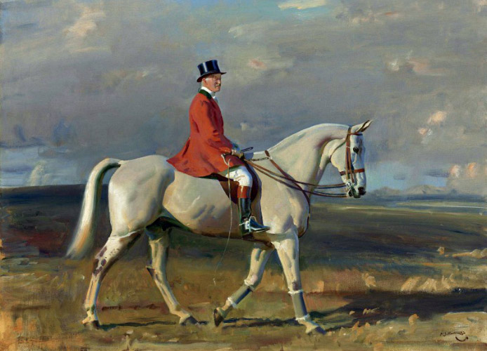 Portrait of Harry La Montagne on a Grey, by Sir Alfred James Munnings