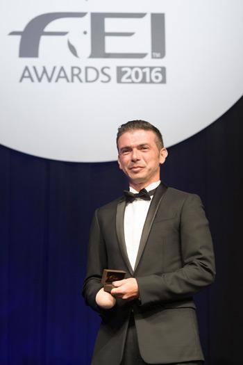 FEI Against All Odds Award winner Rodolpho Riskalla at the awards ceremony in Tokyo.