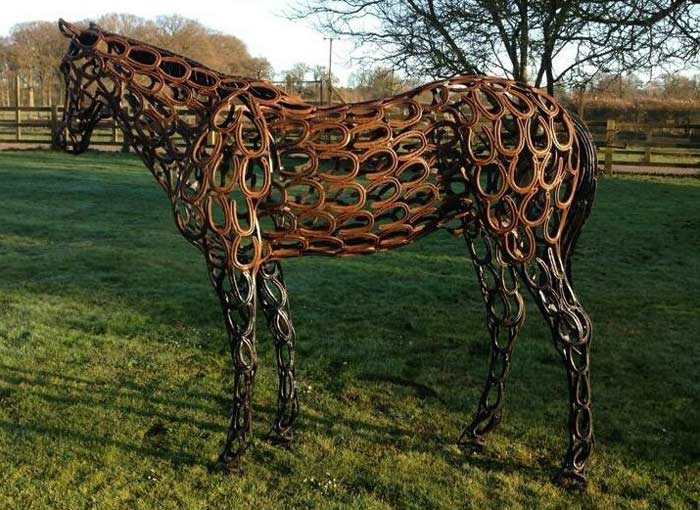 A horseshoe sculpture designed by Tom Hall, who will create the horse for World Horse Welfare's Chelsea Flower Show entry, using horseshoes donated by supporters and from celebrity horses.