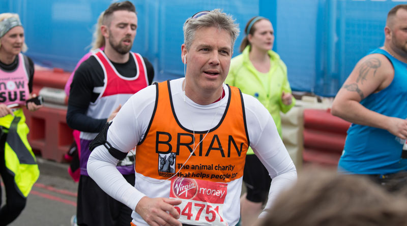 Veterinarian Brian Faulkner running the London Marathon for Brooke last year. he's doing it all again - and more - this year.