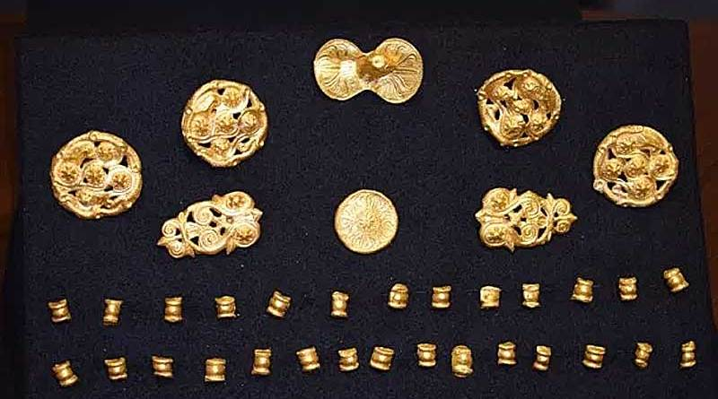 The recently unearthedPrimorsko Gold Treasure consists of 37 horse harness appliques. Photo: Primorsko Municipality