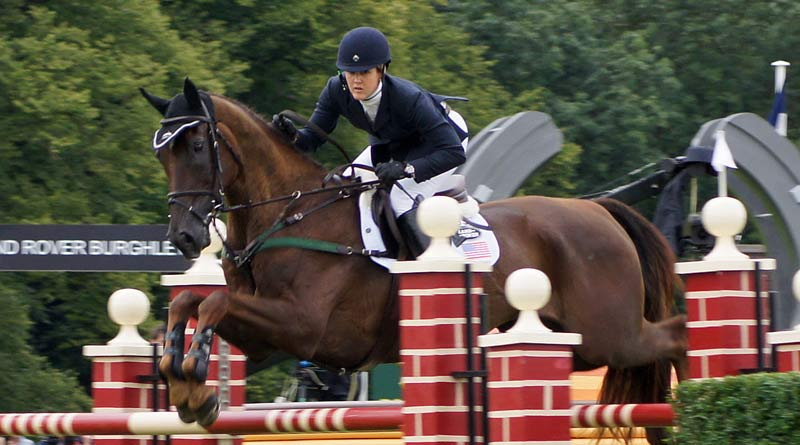 Allison Springer and Arthur at Burghley in 2012.