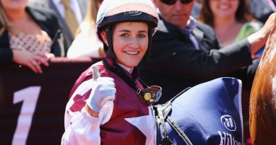 Michelle Payne after winning on Palentine on Stakes Day at Flemington in 2015.