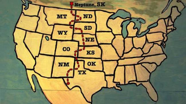 Bernies Harbert's wagon route from north to south.