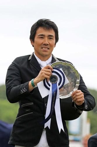 Yoshiaki Oiwa with the spoils after winning the Bramham CCI3* on Calle 44. © Mike Bain