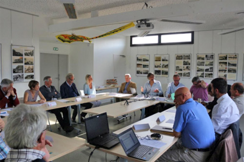 Delegates at the inaugural meeting of the European Beach Racing Association, at the Office of Tourism, Plestin-les-Greves.