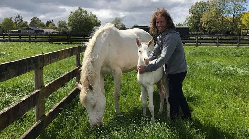 Ciaron Maher, who owns the new filly's half brother, was among the first visitors to see The Opera House and her Mongolian Khan filly.