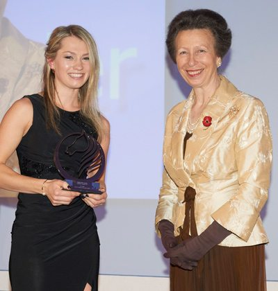 LGT Vestra Under 25 Star of the Future Award winnerCharlotte Fry with Princess Anne.