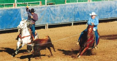 Doug Parker and John at a team roping event in Reno, Nevada, last month.