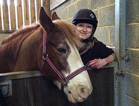 "Amy Smith with Red:  ""Horses are often thought to be good at reading human body language based on anecdotal evidence."""