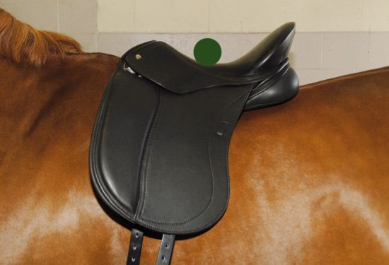 This dressage saddle shows where the center of balance is.