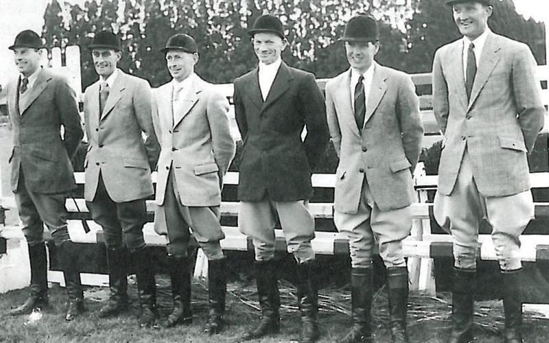 "Australia's 1956 Olympic eventing team of Brian Crago, Ernie Baker, David Wood, John Winchester, Bert Jacobs, and, at far right, Wyatt ""Bunty"" Thompson."