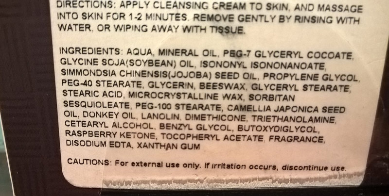 The ingredient list of the Elizavecca Donkey Creamy Cleansing Melting Cream shows Donkey Oil on the seventh line.
