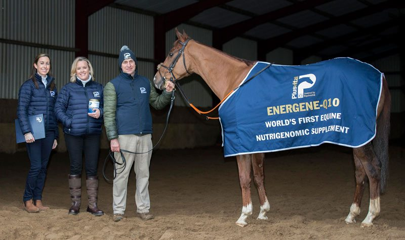 Pictured at the launch for EnerGene-Q10, from left, Plusvital sales director Ciara Watt; UCD School of Agriculture and Food Science and Plusvital CSO Professor Emmeline Hill; and thoroughbred trainer Henry de Bromhead, with Poker Party.