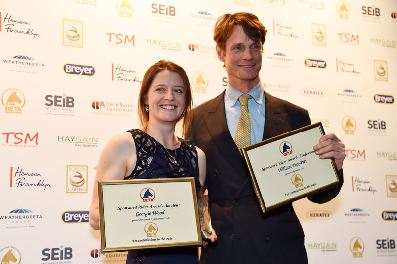 Georgie Wood and William Fox-Pitt with their BETA Sponsored Rider Awards.