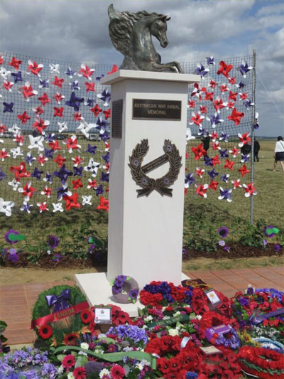 """""""Emerging Spirit"""", which was unveiled in France last year. The wreaths are from Australian horse breed associations, schools, and VIPs from various nations."""