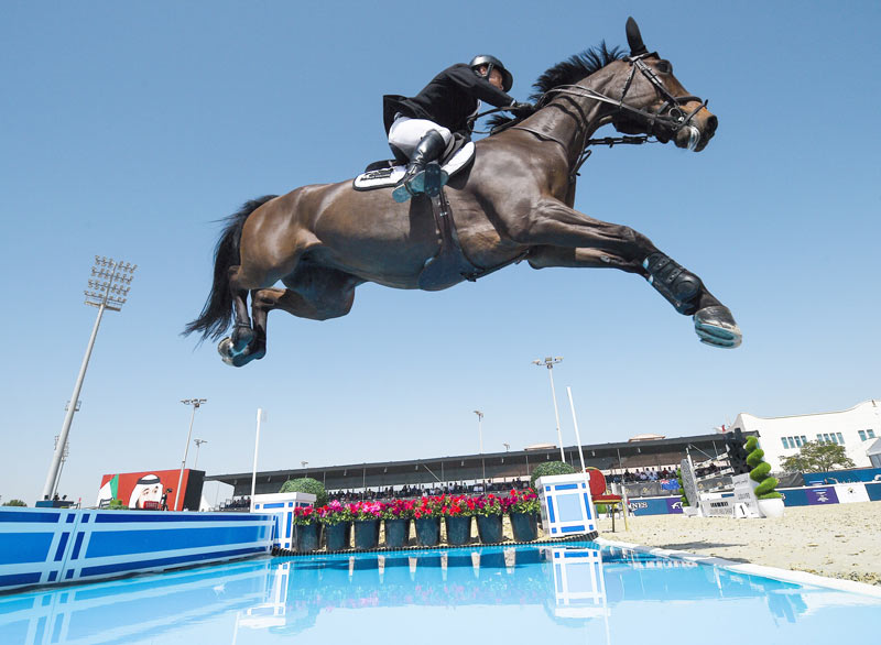 Daniel Meech and his mare, Fine, help New Zealand to a superb victory in the Longines FEI Jumping Nations Cup of United Arab Emirates 2018 in Abu Dhabi on Saturday.