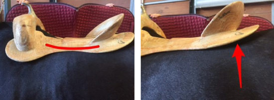 In a western and military saddle,the rider sits in the middle or to the rear of the saddle, on the saddle's relatively large weight-bearing surface.