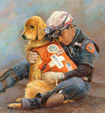 Painted by Fred Stone after 9-11, Partners is one of the most popular posters in history. It raised$500,000 for the families of firefighters who died that day.