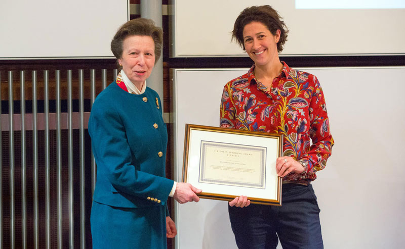 The Princess Royal presented a framed certificate to British Grooms Association Executive Director Lucy Katan.