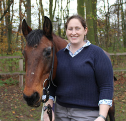 Equine oncologist Dr Anna Hollis with Teddy.