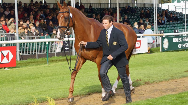 Walterstown Don, pictured with former rider Clayton Fredericks at Burghley in 2012.