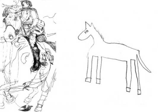 A drawing of a horse, left, by Nadia, a gifted autistic child artist, and another by a typically developing child of the same age. Photo: Penny Spikins, University of York