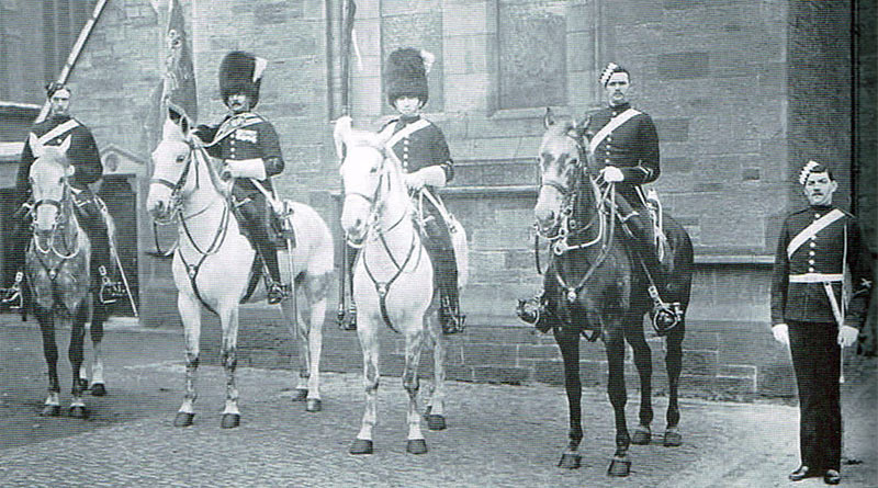 Mounted and dismounted members of the Scots Greys, 1898. From left, Mounted Drill Order; Sergeant-Major Standard-Bearer in Full Dress; trooper wearing Review Order; a mounted orderly and a dismounted orderly. From Real War Horses: The Experiences of the British Cavalry, 1814-1914.