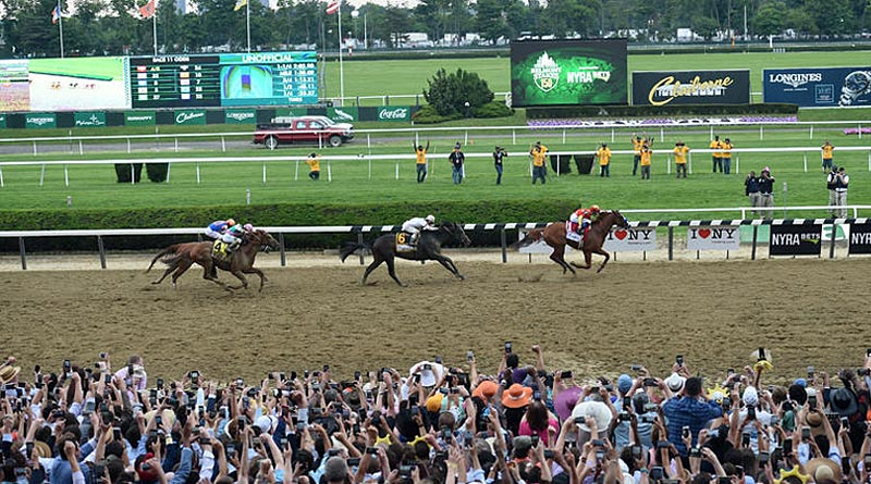 Justify led from wire to wire to win the Belmont Stakes at the weekend. © Elsa Lorieul