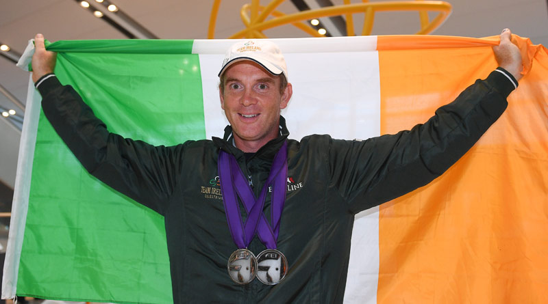 2018 FEI World Equestrian Games Eventing team and individual silver medalist Padraig McCarthy arrives back home to a hero's welcome at Dublin Airport.