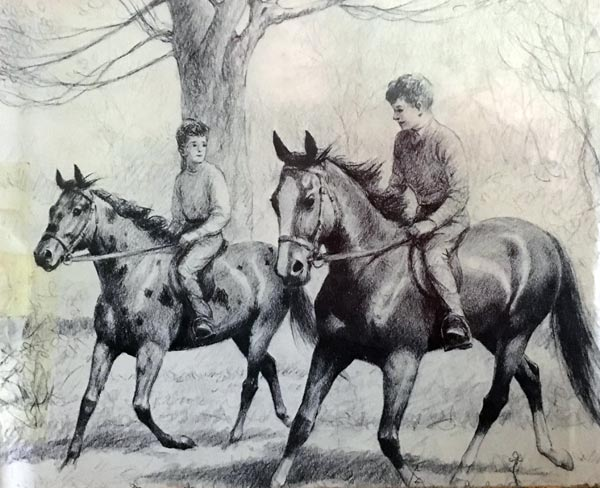 "Billy and Blaze, and Tommy and Dusty, from ""Blaze finds Forgotten Roads"", by CW Anderson."