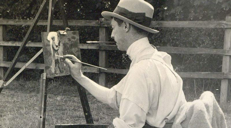 Alfred Munnings at work, around 1914.