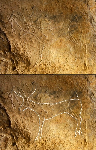 A carved outline of a prehistoric deer or reindeer in the Agneux II cave at, Rully, Saône-et-Loire, France, The top image shows the original photo; the bottom image highlights the outline. Image: Christian Hoyer, Floss working group, University of Tübingen