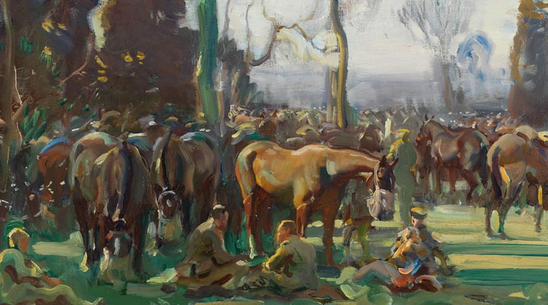 Detail from Sir Alfred Munnings Halt on the March by a Stream at Nesle.
